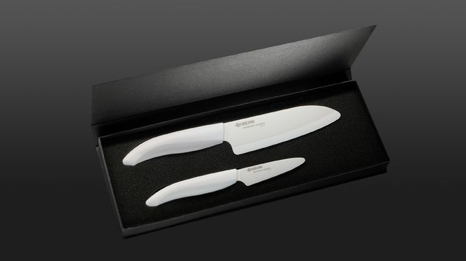 ceramic knife set with white paring knife and white Santoku