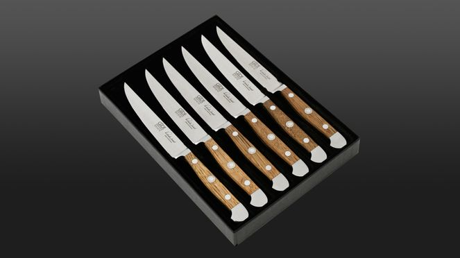 Güde serrated steak knife set with six steak knives