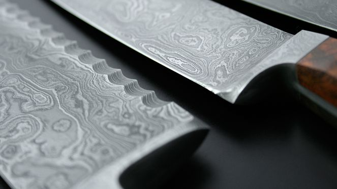 close up of damask knife blade