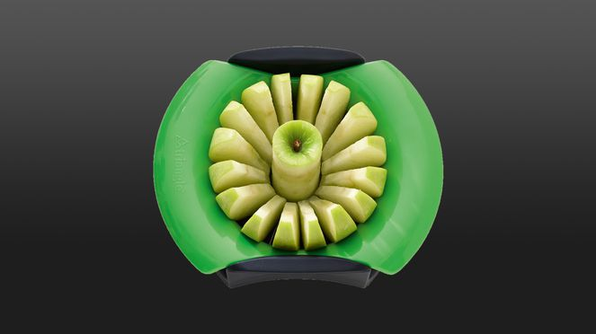 Green apple slicer of triangle