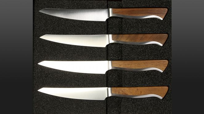The Caminada serrated steak knife set contains four steak knives