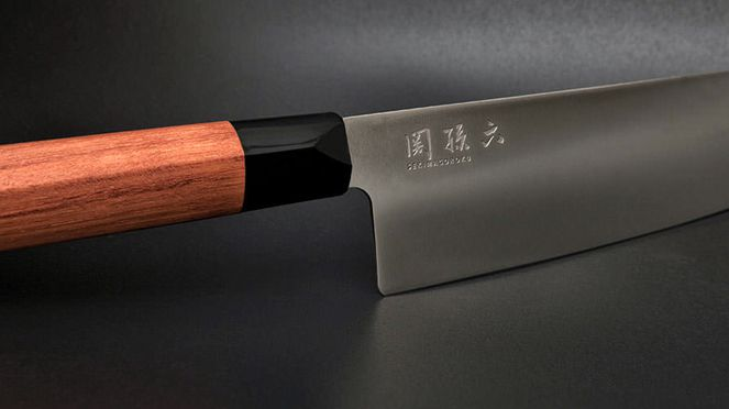 Klingenansicht des Red Wood Santoku