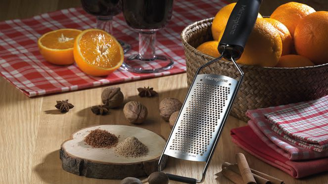 The Microplane fine rasp is suitable for nutmeg or ginger