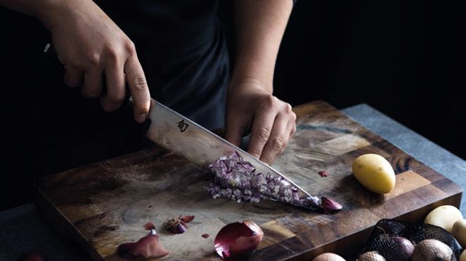 Kitchen knife in use
