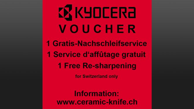 Regrinding voucher for Kyocera ceramic knife