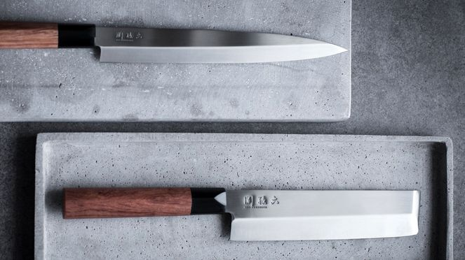 Red Wood Yanagiba mit Red Wood Nakiri