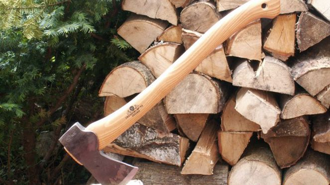 The hand-forged ax is useful to cut wood