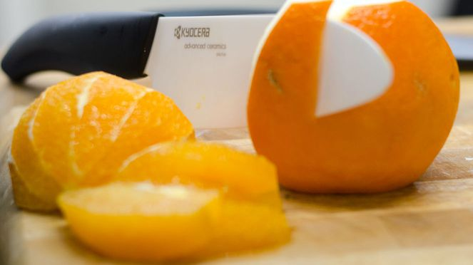 Kyocera grosses Kochmesser mit Orange