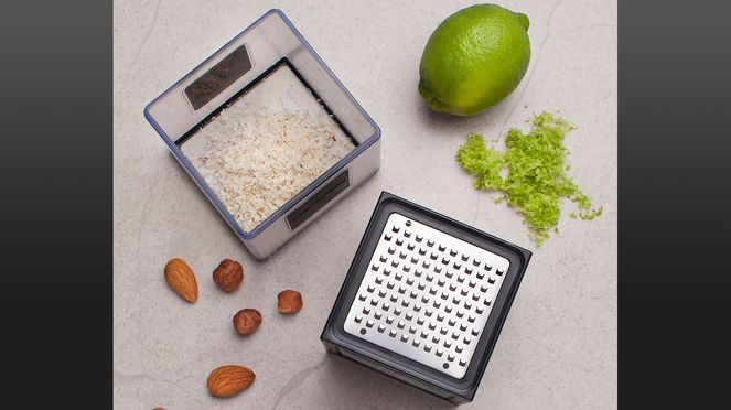 The Microplane Cube grater for grating with stocking cube